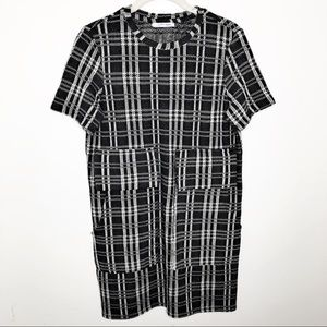 Zara Trafaluc Plaid Large Pocket Sweater Dress